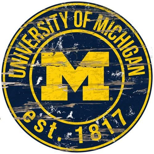University of Michigan Wolverines Round Wall Decor Establish Date Round Art