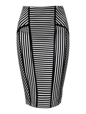Jane Norman Striped pencil skirt Black & White - House of Fraser