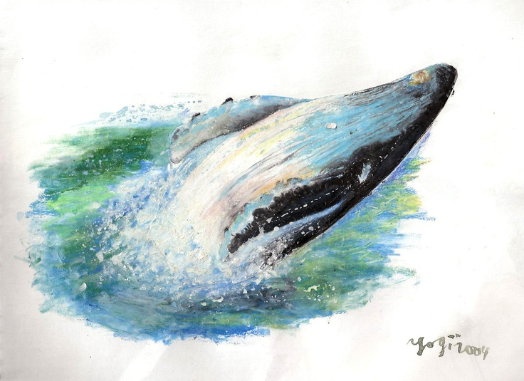 humback whale - oil pastel on paper