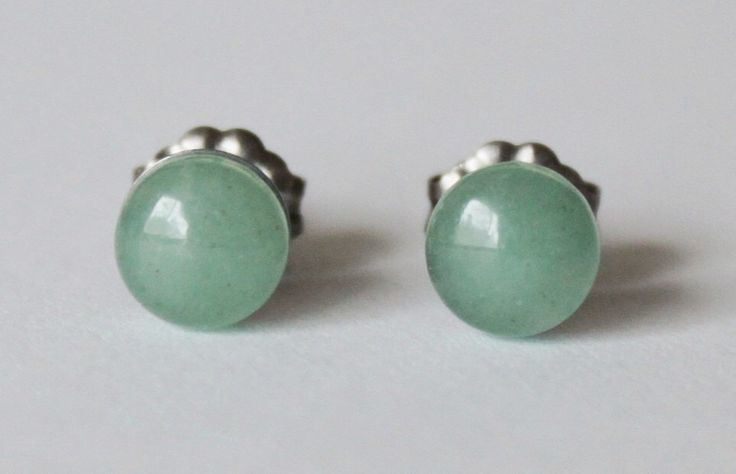 6mm Green Aventurine Studs, hypoallergenic Titanium earring, Cabochon Gemstone post studs,for sensitive ears by Pearlland88 on Etsy https://www.etsy.com/listing/175546968/6mm-green-aventurine-studs