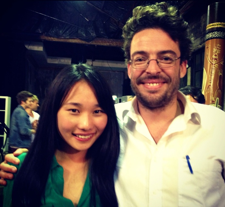 Australia's history challenge participant Lydia poses with journalist Joe Hilderbrand..