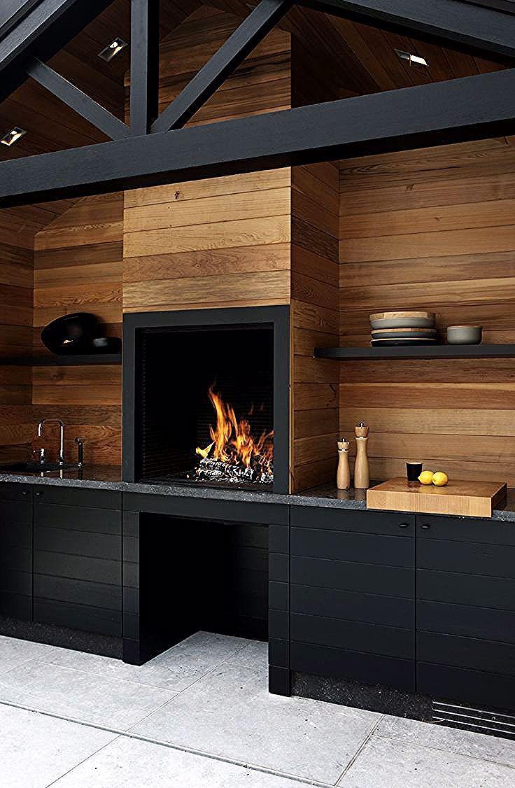 couvrir mur de bois idee cuisine noir mat bois style chalet ...