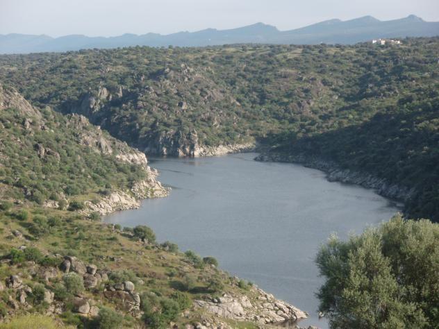 Paisaje de berrocales junto al Tajo con la Sierra de Guadalupe al fondo.