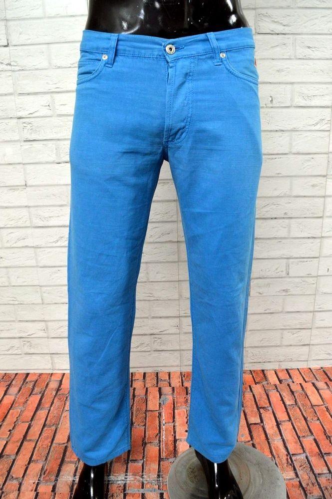 Pantalone ROY ROGERS Uomo Taglia Size 32 Jeans in Lino Slim