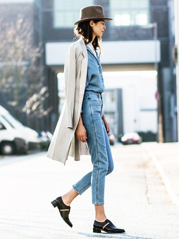 All-denim looks polished as ever when paired with a suede fedora, long grey blazer and sleek cutout flats.