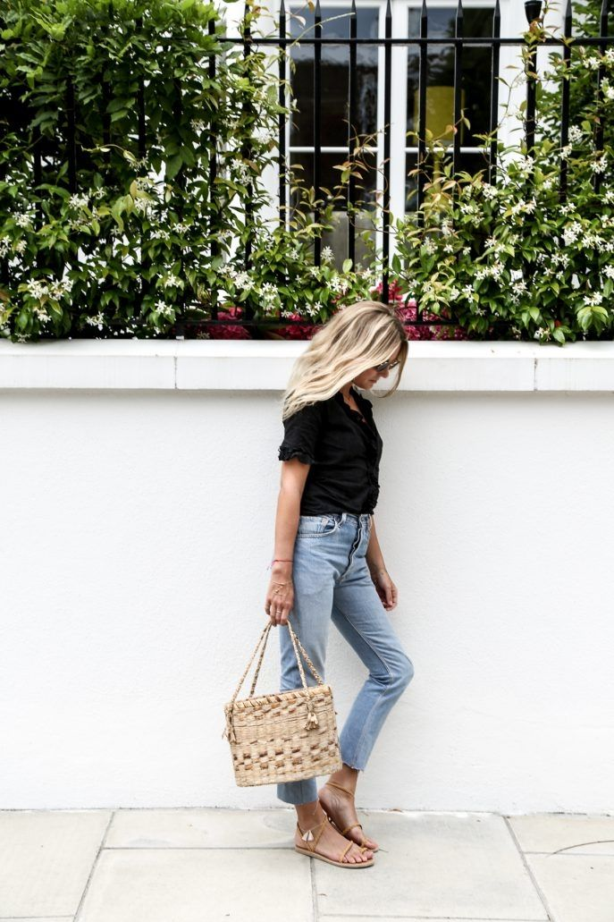 Jeans and a picnic bag