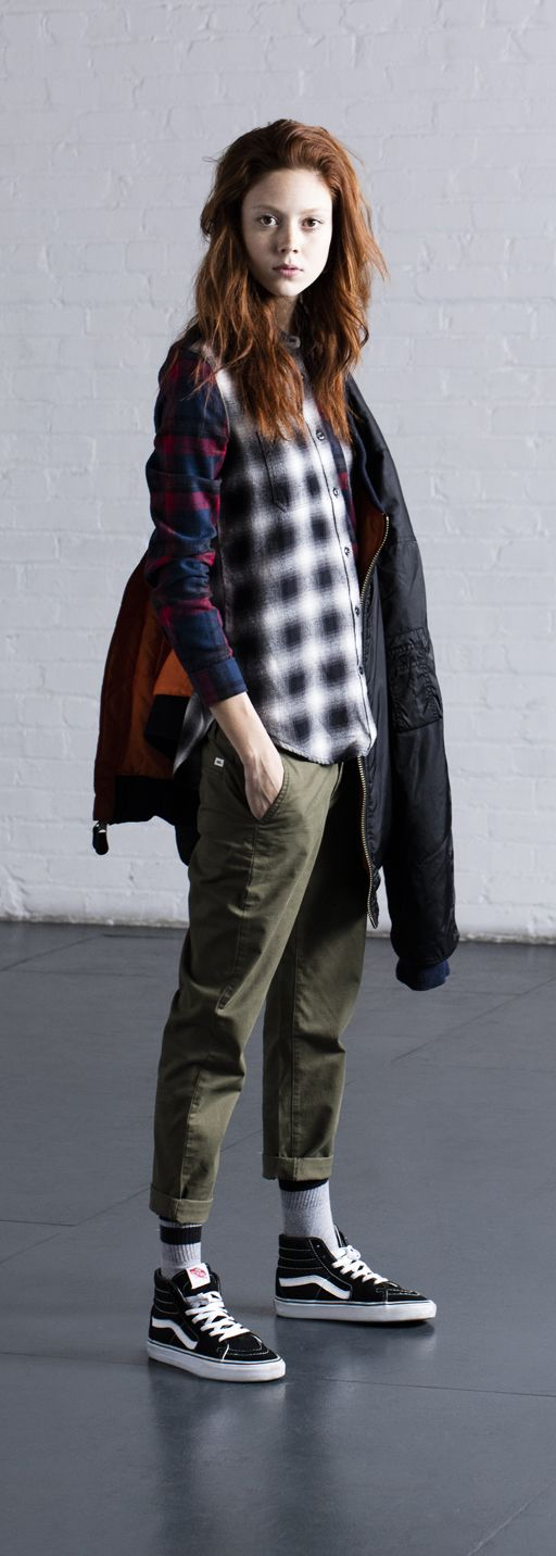 Fashion model, Natalie Westling, is tomboy chic with her effortless style and laid-back attitude. Steal her look with our favorite flannel, Vans Chino pants, and black Sk8-Hi's. Shop Vans Sk8-Hi collection and other fall essentials now at vans.com/sk8hi.