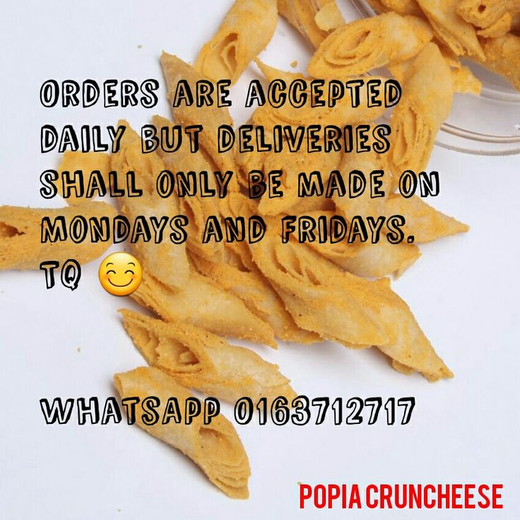 [Postage]  Order are accepted daily but deliveries shall only be made on Mondays and Fridays. TQ   #postage #popiacheese #popiacruncheese #sayajual #jomborong #igbiz #instafood #foodporn #foodlover #visitig #cruncheese #awesome