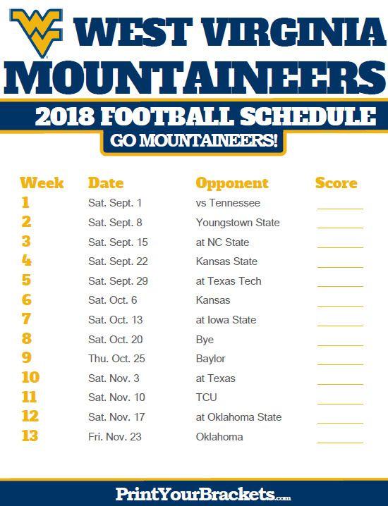 5.99 Huge! 2018 West Virginia Mountaineers Schedule