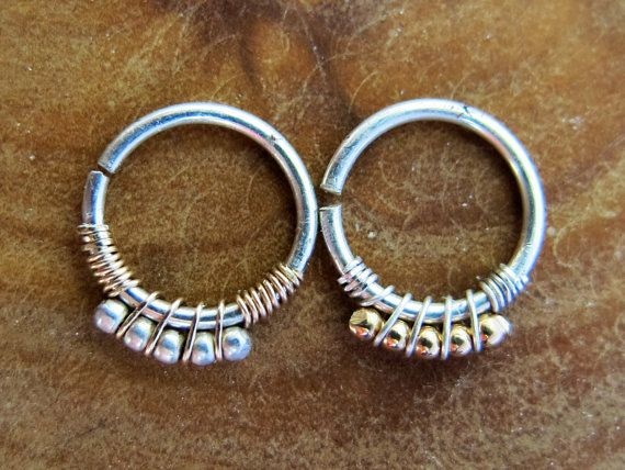 Handmade Cartilage hoop - Tragus ring - Sterling silver - 14k yellow Gold filled - 18 gaug - Gypsy septum ring - indian nose ring