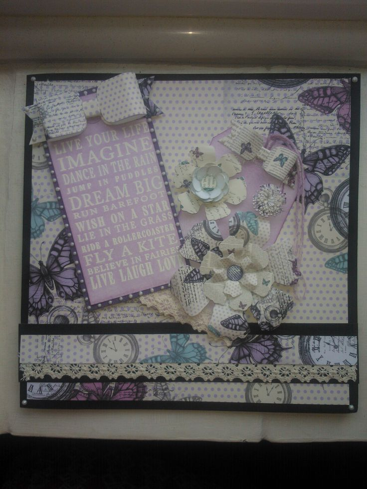 """emmas birthday card made using craftwork cards """"time flies"""" paper pad and an """"inkylicious"""" sentiment stamp"""