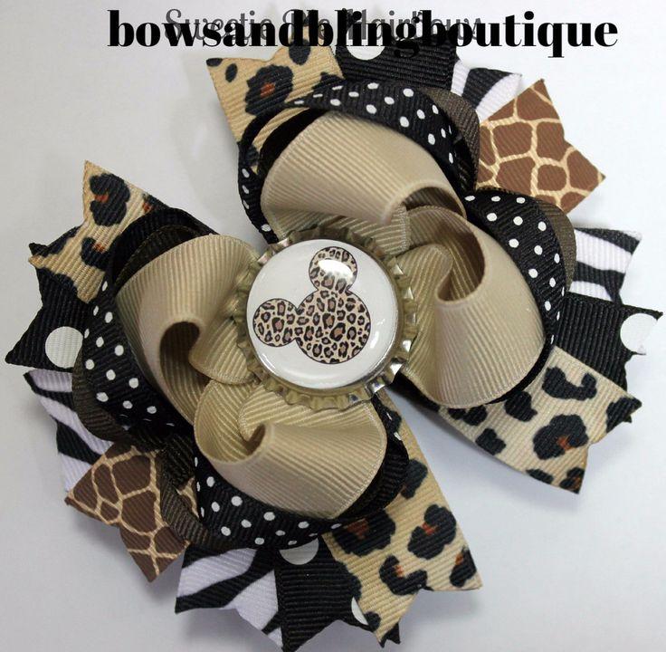 Minnie Mouse Safari animal Hair bow Set Boutique Bows