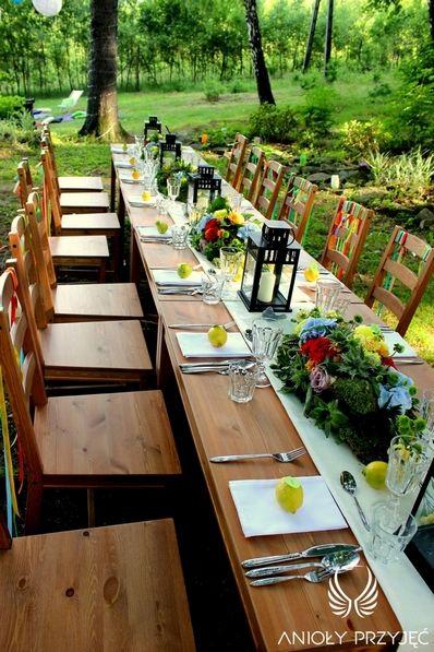 5. Forest Wedding,Outdoor wedding decor,Centerpieces / Leśne wesele,Kameralne wesele,Wesele w plenerze,Dekoracje stołu,Anioły Przyjęć
