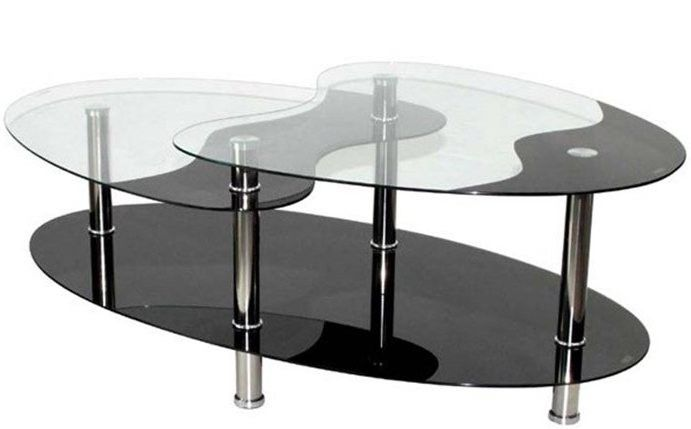 Table Basse Oval Plateau Verre Trempe Noir Et Transparent Loza Table Basse Table Basse Rangement Table Basse Verre