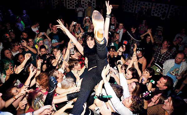 Noel Fielding crowd surfing at a Boosh show. I'm sure no girls took advantage.