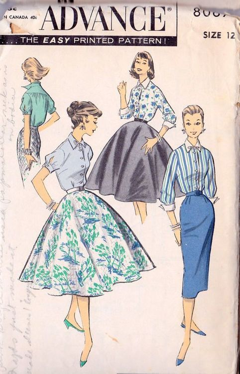 1950s teen fashion sewing pattern illustrations.