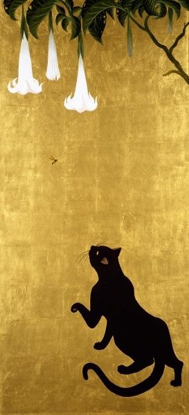 // Cat and Wasp. By Muramasa Kudo, Japan. 24K Gold Leaf & acrylic on canvas.