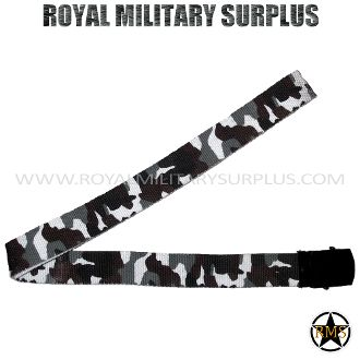 "Belt - Tactical (1.25"") - URBAN CAMOUFLAGE (City/Tactical) - 6,95$ (CAD) - URBAN CAMOUFLAGE (City/Tactical) Tactical Camouflage Pattern - 4 Colors Army/Military/Special Forces Design Made following Military Specifications 100% Nylon Metal Buckle (Slide/Claw Clamps) Fully Adjustable (Precise and Solid for all Sizes) One Size: 50""x 1.25"" (127 CM x 3.5 CM) BRAND NEW WWW.ROYALMILITARYSURPLUS.COM"