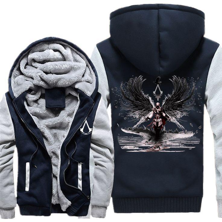 2017 Winter Fashion Assassin Creed Hoodie Men Black Sweatshirt Chadal Hombre Hoody Tracksuit Women Thicken Keep Warm Hoodies
