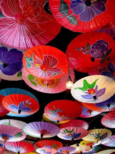ceiling of Madam Mam's Thai Restaurant...decorations for parties