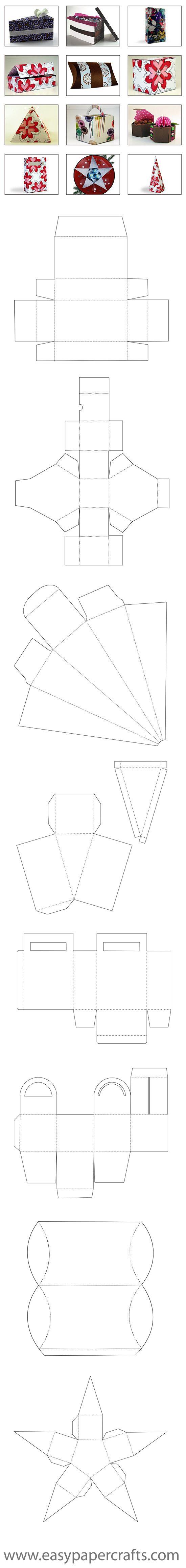 free Box Templates(MOLDE CAIXINHAS BOLO ETC)