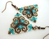 Beadwork Peyote Triangle Earrings Brown Turquoise Cream Beaded Beadwoven Seed Bead Earrings