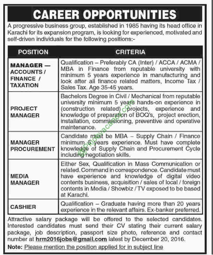 Progressive Business Group Karachi Jobs For Manager Finance - financial manager job description
