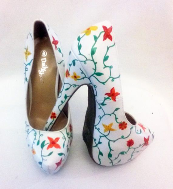 Flower Heels / Hand Painted Flower Shoes / Hand Painted Heels