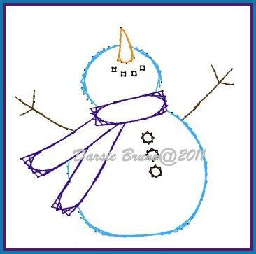 Happy Snowman Embroidery Pattern for Greeting Cards via Etsy