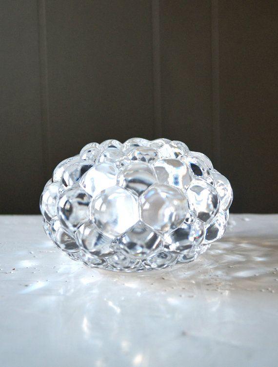 Orrefors of Sweden Raspberry Crystal Tealight by DoceVikaVintage