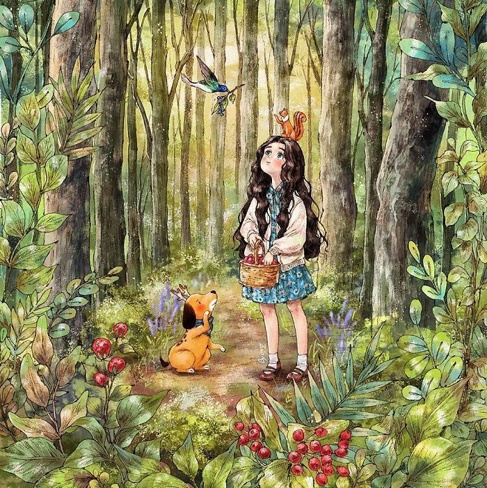 Life Illustration Aeppol In 2020 Forest Drawing