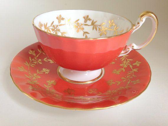 Eloquent Orange Anysley Tea Cup and Saucer Tea by AprilsLuxuries