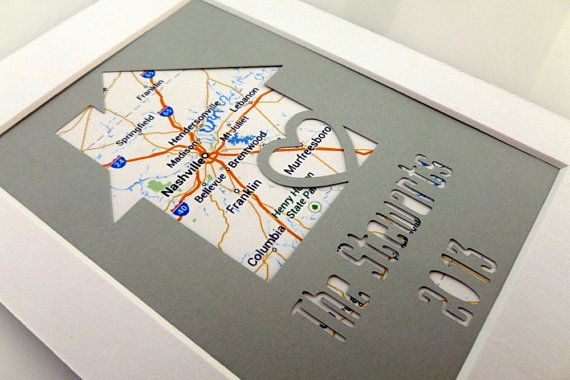 Personalized Home Map Matted Gift Anniversary Gift by HandmadeHQ