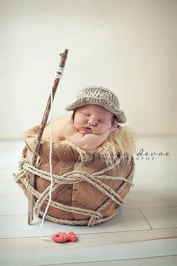 Crochet Fishing Hat plus Fish photo prop Newborn and by Bethanys5, $28.00