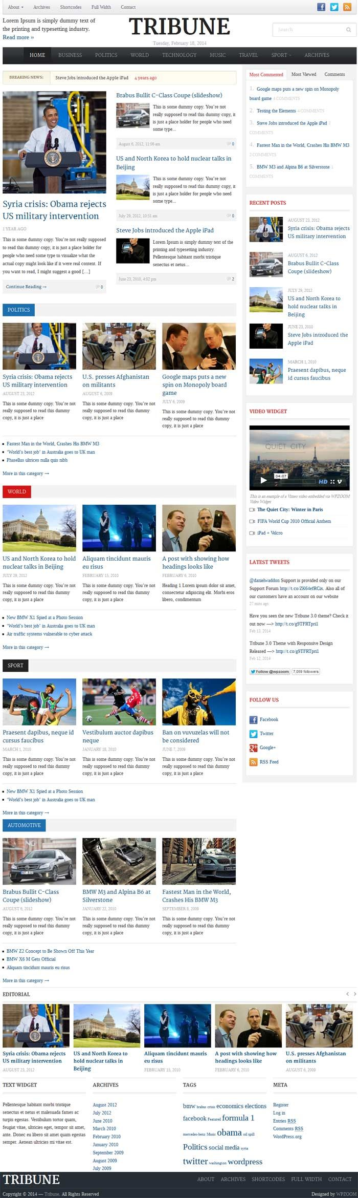 Google themes bmw - Tribune 3 0 Is A Powerful And Professional News And Magazine Wordpress Theme From Wpzoom The