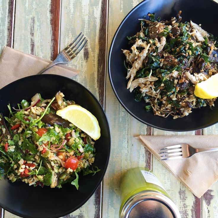 DAILY SALADS | It's beginning to feel a lot like spring! We have 2 salad specials-  Warm Wild Mushroom, Brown Rice, Kale, Roast Chicken with a Balsamic dressing or Roasted Eggplant, Rocket, Cherry Tomatoes, Goji Berrys and Pepita. Dine in or Gran 'N Go! #nood #noodcafe #leederville #dailyspecial #salad #glutenfree #dairyfree #wholefoods