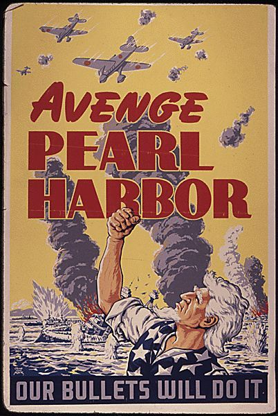 In the US propaganda showing hatred for Japanese was posted. In the poster above it shows an American man, wearing a patriotic shirt, present at the attack of Pearl Harbor. The man appears to be drowning in the water with sinking ships surrounding him and Japanese planes flying above, the man has his fist in the air showing his hatred and his persistence not to give up. The propaganda says Avenge Pearl Harbor our bullets will do it. This means the US will get back at Japan for their actions.