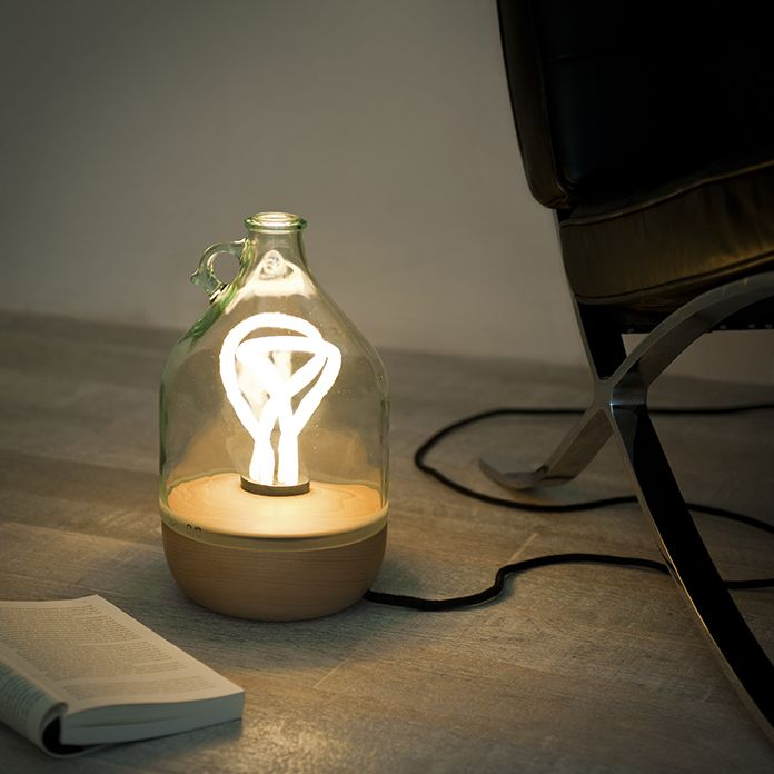 SUSTAINABLE LAMP MADE OUT OF OIL GLASS CONTAINER