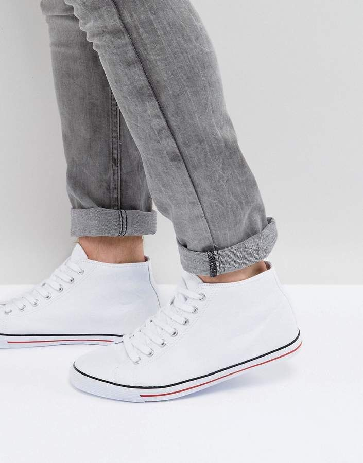 ASOS Mid Top Sneakers In White Canvas