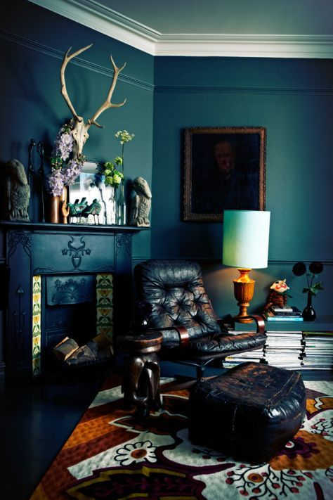 Dark blue/green teal walls with orange accent | Abigail Ahern design classes