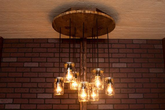 Mason Jar Chandelier With Reclaimed Wood and door Bornagainwoodworks