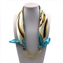 Pattern Printed Silk Shawl Acrylic Gold Plated Pendant Scarf