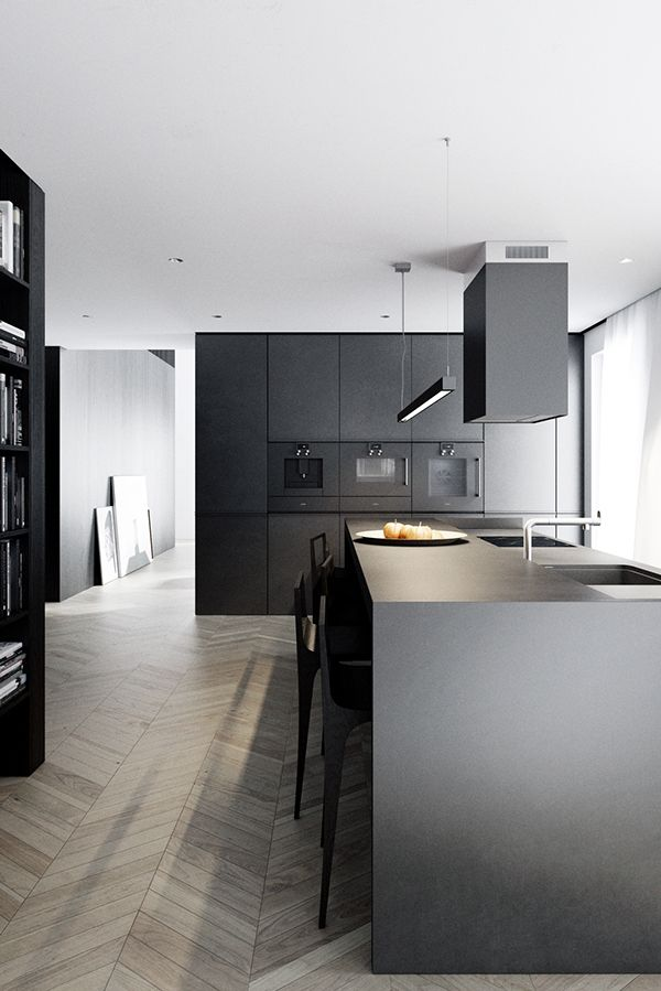 "Black Modern Kitchen wooden floor herringbone & general atmosphere ""modern"" 