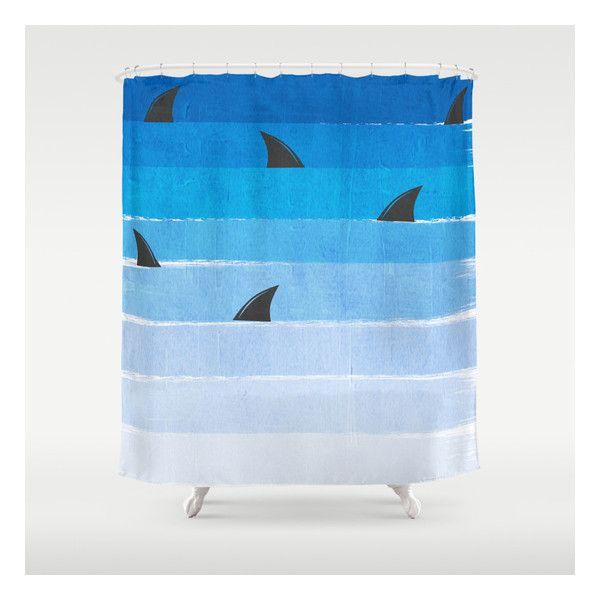 sharks shark week trendy black and white minimal kids pattern print ombre blue ocean surfing shower curtain
