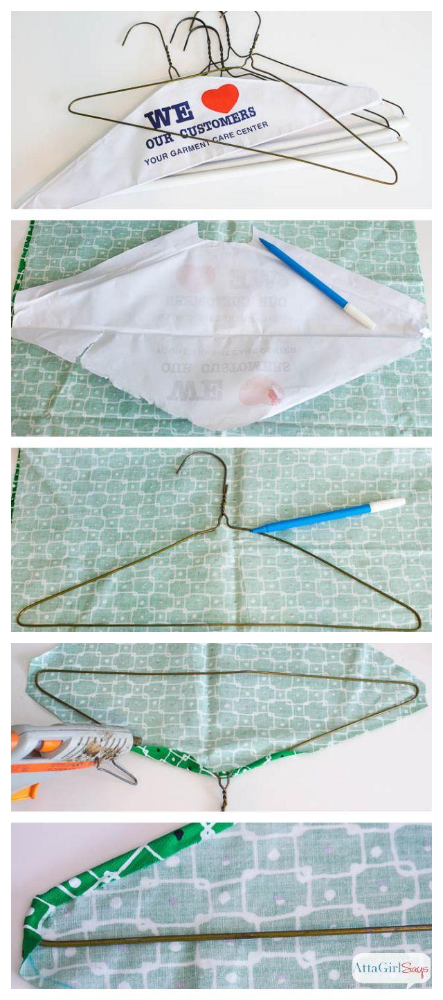Stylish closet organization: No-Sew Fabric Covered Clothes Hangers