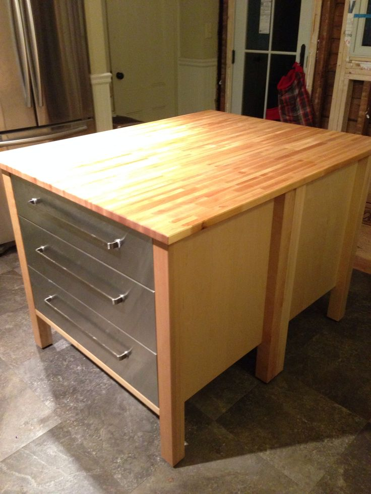 Ikea Kitchen Island Hack Two Varde 3 Drawer Cabinets Back To Back With A Big Butcher Block Island Kitchen Kitchen Island Butcher Block Top Ikea Kitchen Island
