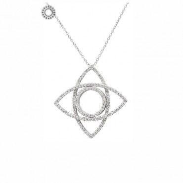 Μοντέρνο λευκόχρυσο κολιέ Κ18 με κρεμαστό κάθετο μάτι με διαμάντια και άλλο ένα που περιστρέφεται σαν λουλούδι | Κόσμημα ΤΣΑΛΔΑΡΗΣ στο Χαλάνδρι #λουλουδι #ματι #διαμαντια #λευκοχρυσο #κολιε