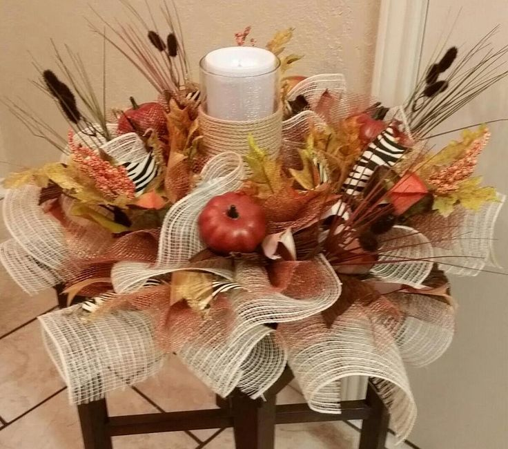 MARKED DOWN, Fall Centerpiece, Thanksgiving Centerpiece, Pumpkins, Fall Leaves, Candle Centerpiece,Table Centerpiece, Fall Candle Holder by SouthTXCreations on Etsy