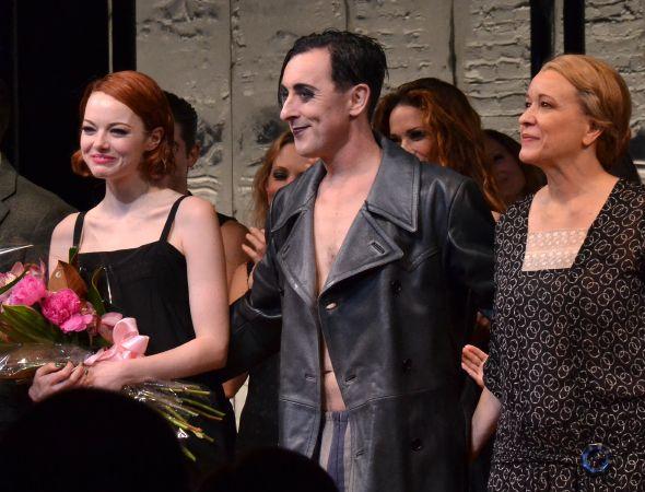 Emma Stone receives flowers to mark her Broadway debut.(© David Gordon)