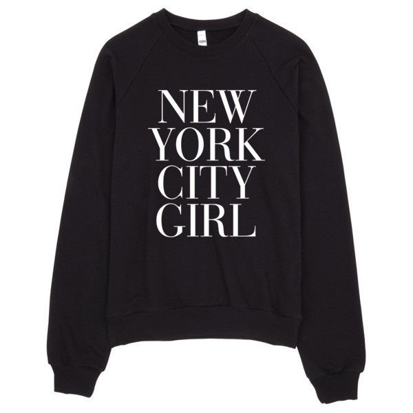 New York City Girl Vogue Typography Sweater ($42) ❤ liked on Polyvore featuring tops, sweaters, crew-neck sweaters, fleece tops, fleece sweater and crewneck sweater